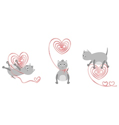 kittens with red hearts vector image
