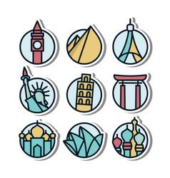 landmark vynil sticker icon vector image