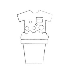 Laundry bucket with shirt vector