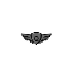 Letter q initial logo wing and badge shield vector