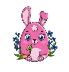 little pink cartoon bunny rabbit holding a carrot vector image