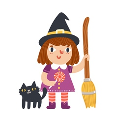 little witch and her cat vector image