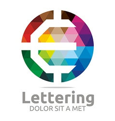 Logo Abstract Lettering E Rainbow Alphabet Icon vector image