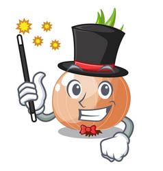 Magician cartoon ripe onion in the kitchen vector