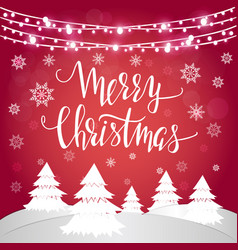 merry christmas with hand lettering vector image