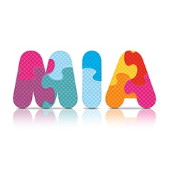 MIA written with alphabet puzzle vector