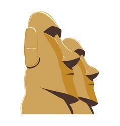 moai monolithic statues polynesia easter islands vector image