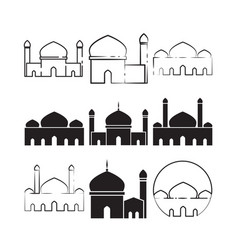 mosque custom graphic design template set vector image