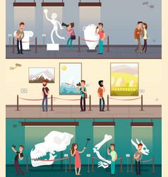Museum gallery with art pictures exhibit vector
