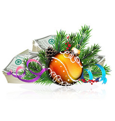 orange christmas ball with money vector image