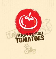 Organic farm fresh tomatoes creative food market vector