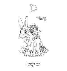 outline english alphabet amusing animals vector image