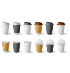 paper cup cardboard cups with cap and mugs for vector image