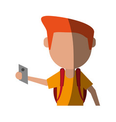 Person using cellphone avatar icon image vector