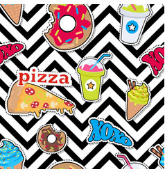 Pizza doughnut cocktail smoothie ice ceam xoxo vector