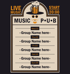 Poster for beer pub with live music with a hipster vector