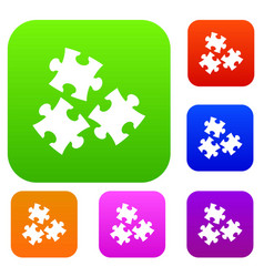 puzzle set color collection vector image
