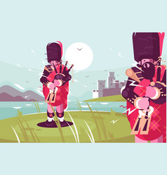 Scottish men bagpipers wearing traditional dress vector