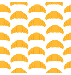 seamless pattern with croissant in flat style vector image