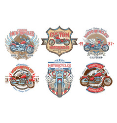 set color vintage badges emblems with a vector image