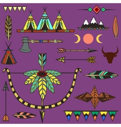 Set ethnic american indians objects vector