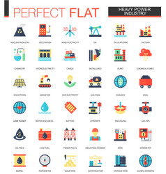 Set of flat heavy power industry icons vector