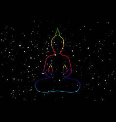 silhouette sitting buddha with space and stars vector image