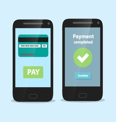Smart phone with flat payment interface vector