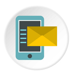 Sms on the phone icon circle vector