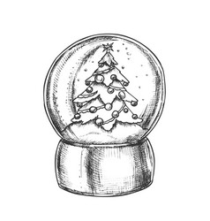 Snow globe with decorated fir-tree souvenir vector