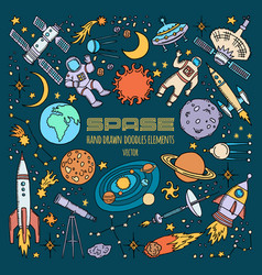 Space objects in universe hand drawn vector