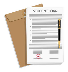 student loan application form and fountain pen vector image