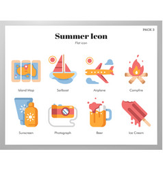 Summer icons flat pack vector