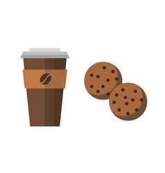 Take out coffee drink cup and cookies vector