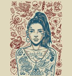 Vintage tattoos monochrome poster vector