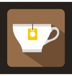 White cup with teabag icon flat style vector image