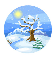winter landscape with trees mountains and hills vector image