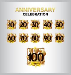 Year anniversary black gold balloon set template vector