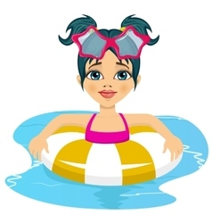 girl swimming in pool on inflatable ring vector image vector image