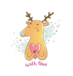 Happy Valentines day cartoon hand drawn deer vector image vector image