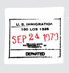 LAX departed passport stamp vector image