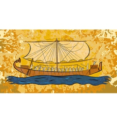 Egyptian papyrus boat fresco vector image