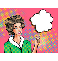pop art beautiful woman pointing finger vector image vector image