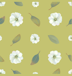 watercolor floral seamless pattern with white vector image vector image