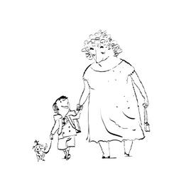 Grandma grandson and dog on a walk vector