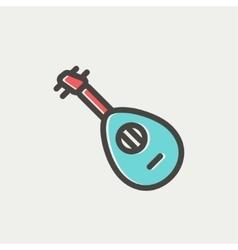 Mandolin guitar thin line icon vector image vector image