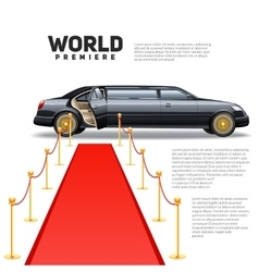 Red Carpet Limousine Colorful Picture vector image