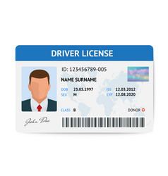 flat man driver license plastic card template id vector image vector image