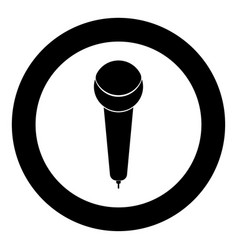 microphone icon black color in circle or round vector image vector image