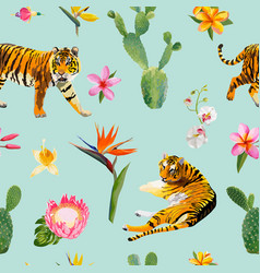 seamless pattern with tigers tropical flowers vector image